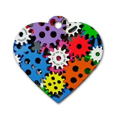 Colorful Toothed Wheels Dog Tag Heart (Two Sides)