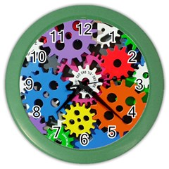 Colorful Toothed Wheels Color Wall Clocks