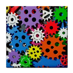 Colorful Toothed Wheels Face Towel