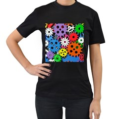 Colorful Toothed Wheels Women s T-Shirt (Black)