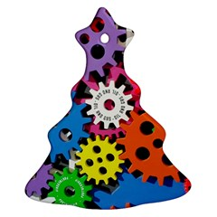 Colorful Toothed Wheels Christmas Tree Ornament (Two Sides)