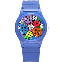 Colorful Toothed Wheels Round Plastic Sport Watch (S)