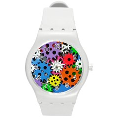 Colorful Toothed Wheels Round Plastic Sport Watch (m)