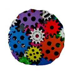 Colorful Toothed Wheels Standard 15  Premium Round Cushions