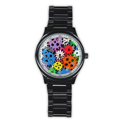Colorful Toothed Wheels Stainless Steel Round Watch