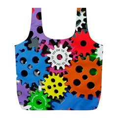 Colorful Toothed Wheels Full Print Recycle Bags (L)
