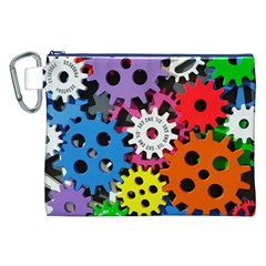 Colorful Toothed Wheels Canvas Cosmetic Bag (XXL)