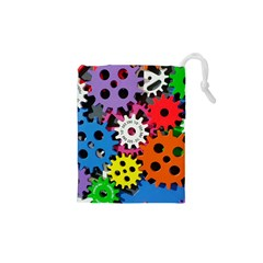 Colorful Toothed Wheels Drawstring Pouches (XS)