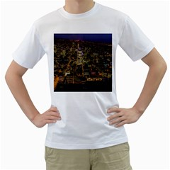 City Glass Architecture Windows Men s T-Shirt (White) (Two Sided)