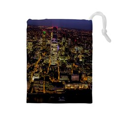 City Glass Architecture Windows Drawstring Pouches (Large)
