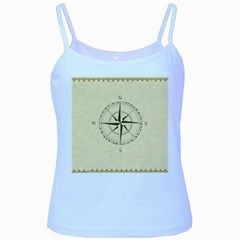 Compass Vintage South West East Baby Blue Spaghetti Tank