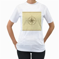 Compass Vintage South West East Women s T-Shirt (White) (Two Sided)