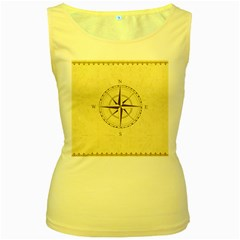 Compass Vintage South West East Women s Yellow Tank Top