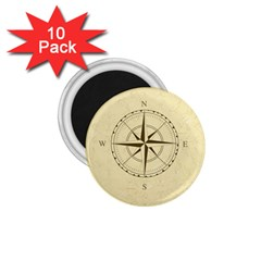Compass Vintage South West East 1.75  Magnets (10 pack)