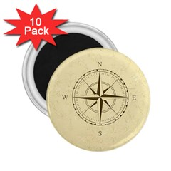 Compass Vintage South West East 2 25  Magnets (10 Pack)