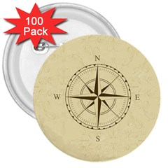 Compass Vintage South West East 3  Buttons (100 pack)