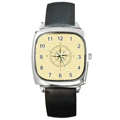 Compass Vintage South West East Square Metal Watch