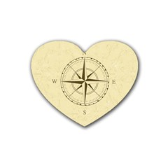 Compass Vintage South West East Rubber Coaster (Heart)