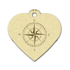 Compass Vintage South West East Dog Tag Heart (Two Sides)