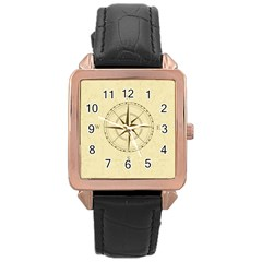 Compass Vintage South West East Rose Gold Leather Watch