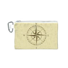 Compass Vintage South West East Canvas Cosmetic Bag (S)