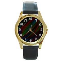 Dark Background Pattern Round Gold Metal Watch