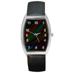 Dark Background Pattern Barrel Style Metal Watch