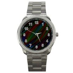 Dark Background Pattern Sport Metal Watch