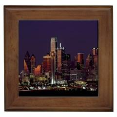 Dallas Texas Skyline Dusk Framed Tiles