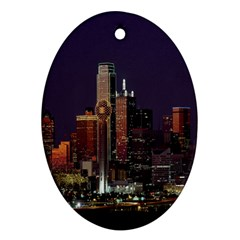 Dallas Texas Skyline Dusk Ornament (Oval)