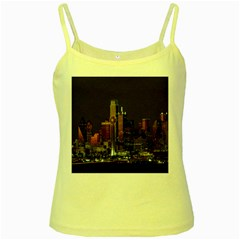 Dallas Texas Skyline Dusk Yellow Spaghetti Tank