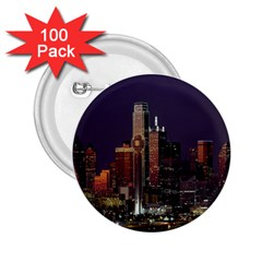 Dallas Texas Skyline Dusk 2.25  Buttons (100 pack)