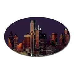Dallas Texas Skyline Dusk Oval Magnet