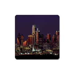 Dallas Texas Skyline Dusk Square Magnet