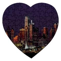 Dallas Texas Skyline Dusk Jigsaw Puzzle (Heart)