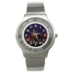 Dallas Texas Skyline Dusk Stainless Steel Watch