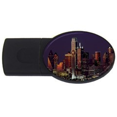 Dallas Texas Skyline Dusk USB Flash Drive Oval (4 GB)