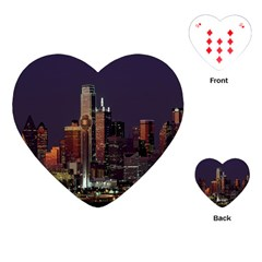 Dallas Texas Skyline Dusk Playing Cards (Heart)