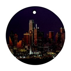 Dallas Texas Skyline Dusk Round Ornament (Two Sides)