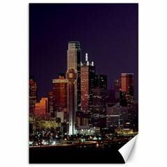 Dallas Texas Skyline Dusk Canvas 12  X 18