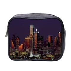 Dallas Texas Skyline Dusk Mini Toiletries Bag 2-Side