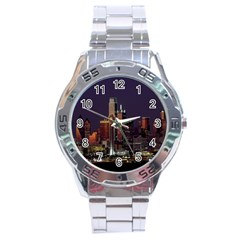 Dallas Texas Skyline Dusk Stainless Steel Analogue Watch