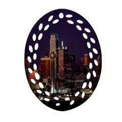 Dallas Texas Skyline Dusk Oval Filigree Ornament (Two Sides)