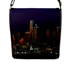 Dallas Texas Skyline Dusk Flap Messenger Bag (L)