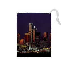 Dallas Texas Skyline Dusk Drawstring Pouches (Medium)