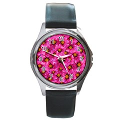 Dahlia Flowers Pink Garden Plant Round Metal Watch