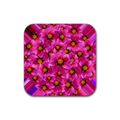 Dahlia Flowers Pink Garden Plant Rubber Square Coaster (4 pack)
