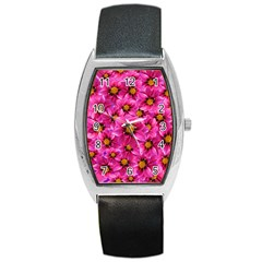 Dahlia Flowers Pink Garden Plant Barrel Style Metal Watch