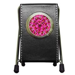 Dahlia Flowers Pink Garden Plant Pen Holder Desk Clocks