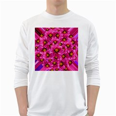 Dahlia Flowers Pink Garden Plant White Long Sleeve T-Shirts